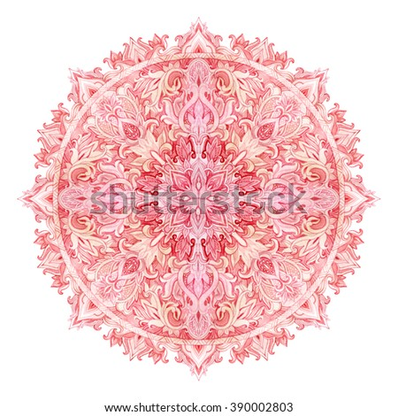 Watercolor mandala. Hand drawn pattern in Eastern style. Ornamental lace pattern for design in tribal and boho styles. Traditional lace isolated on white background. - stock photo