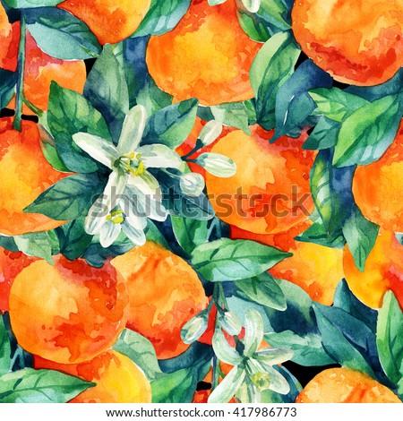 Watercolor mandarine orange fruit with leaves and blossom seamless pattern on black background. Orange citrus tree. Mandarin bloom. Tangerine, leaf, flower in retro style. Hand painted illustration - stock photo