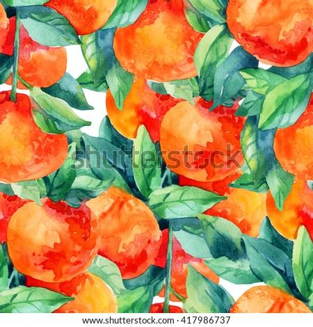 Watercolor mandarine orange fruit with leaves seamless pattern on white background. Orange citrus tree. Mandarin garden. Tangerine and leaves for summer design. Hand painted illustration - stock photo