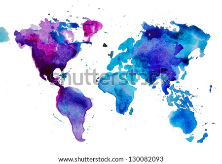 watercolor map of the world - stock photo