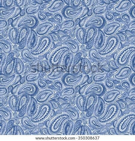 Watercolor Mehndi Ethnic Tattoo Henna Zentangle Doodle elements Illustrartion. Wallpaper textile seamless pattern - stock photo