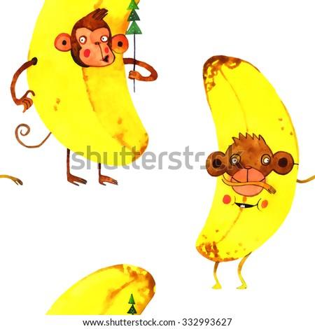 watercolor monkey pattern, new year illustration isolated on white background - stock photo