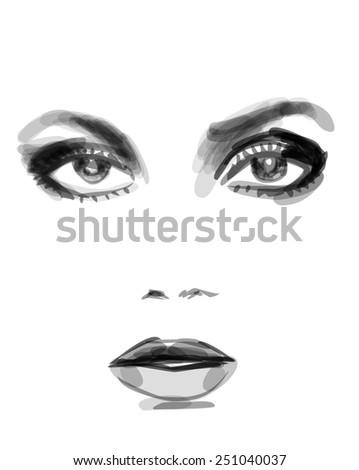 Watercolor monochrome fashion illustration of beautiful woman face - stock photo