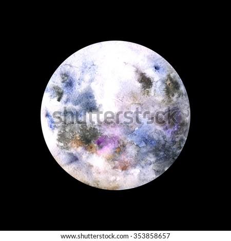 Watercolor Moon - stock photo