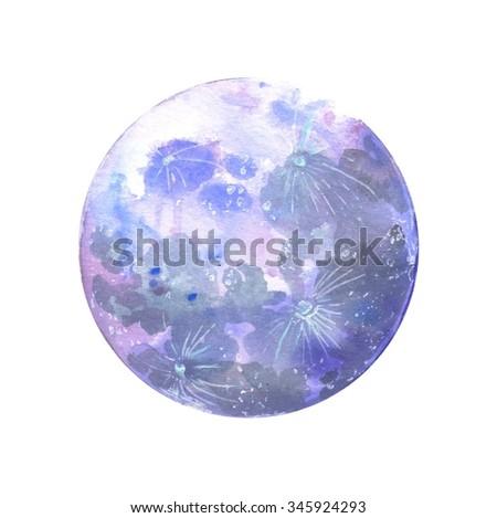 Watercolor moon. Raster hand drawn illustration. - stock photo