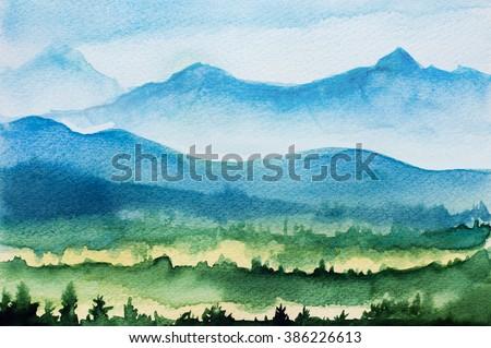 Watercolor mountains - stock photo