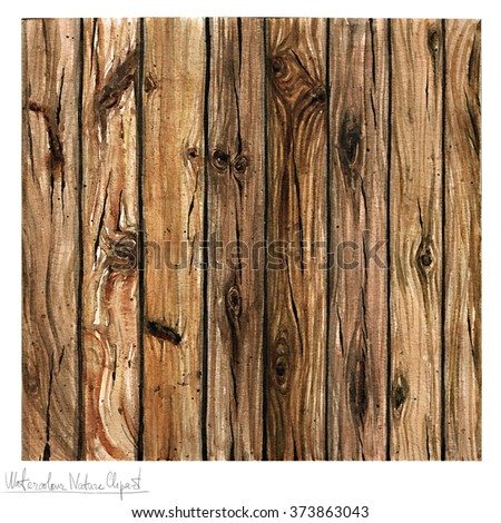 Watercolor Nature Clipart - Wooden Texture - stock photo