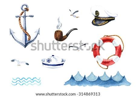 Watercolor nautical set of design elements: anchor cap captain's cap, tube, seagull, waves, life preserver - stock photo