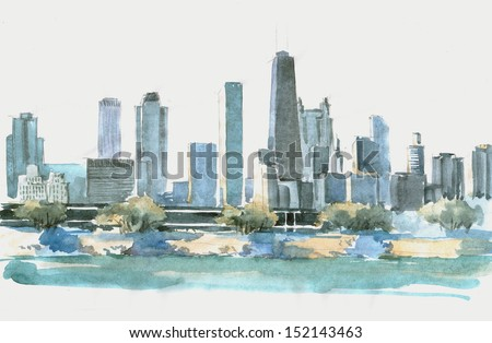 Watercolor of a landscape with bay and set of skyscrapers in Chicago - stock photo