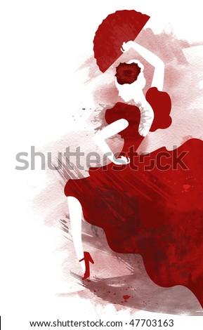 Watercolor of passionate flamenco dancer - stock photo