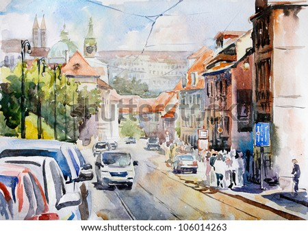 Watercolor of Praha landscape^ perspective of the old street - stock photo