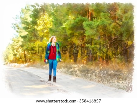 Watercolor oil illustration girl walking along the road through the forest. - stock photo