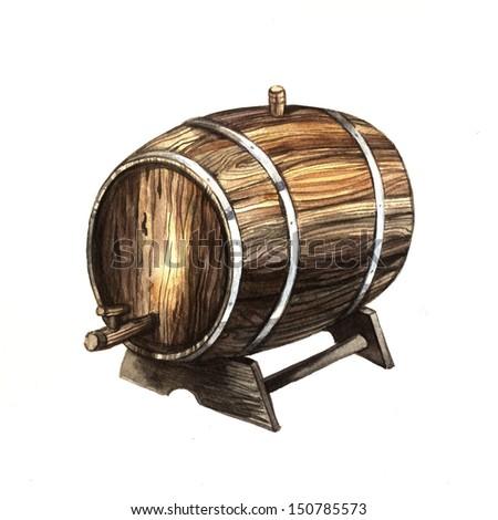 Watercolor old wine barrel - stock photo