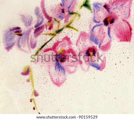 Watercolor on old paper. beautiful orchid - stock photo