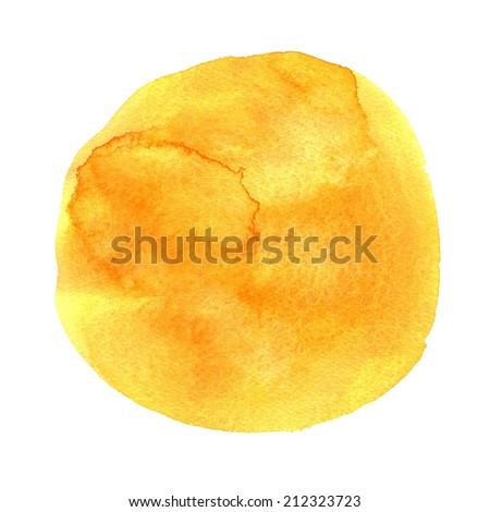 Watercolor orange circle paint stain isolated on a white background - stock photo