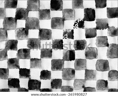 Watercolor painted chess black and white geometric background - stock photo