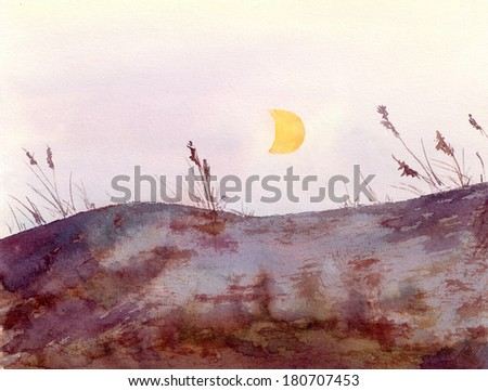 Watercolor painted drawing - landscape view with rocks hill, grass and moon - stock photo