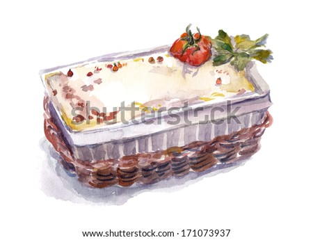 Watercolor painted italian dish - baked lasagna - stock photo