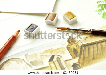 watercolor painting - stock photo