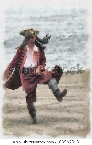 Watercolor Painting: a drunken pirate on shore - stock photo