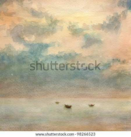 Watercolor painting. Boats in the calm sea and some clouds in the sky. - stock photo