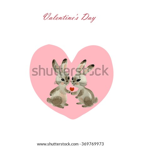Watercolor painting bunnies in the background-2 . Beautiful background for your text. Congratulations to the St. Valentine's Day.  - stock photo