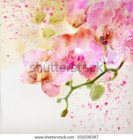 Watercolor painting, floral background - stock photo