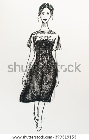 """Watercolor painting """"Girl in the black dress"""" - stock photo"""