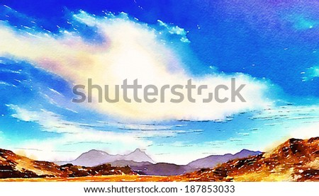Watercolor painting illustration : white fluffy clouds  in the blue sky with mountains background - stock photo