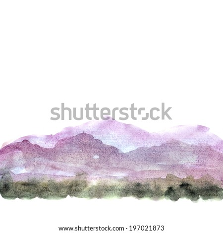 Watercolor painting landscape. Background with mountains. - stock photo