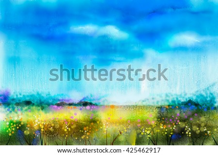 Watercolor painting landscape, wildflower and blue sky. Abstract wild flower paint in the meadows. Hand painted Yellow and Red flowers in field. Spring flower seasonal nature background - stock photo