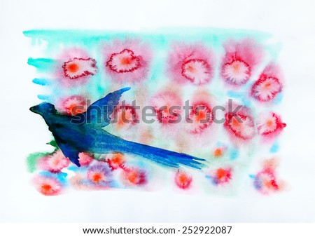 Watercolor painting of the abstract red flowers and blue bird - stock photo