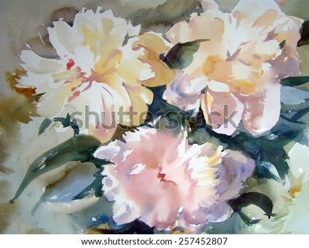 Watercolor painting of the beautiful flowers. - stock photo