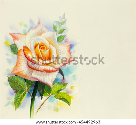Watercolor painting original realistic orange flower of rose and green leaves in blue abstract background - stock photo