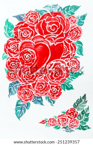 watercolor painting rose, valentine  red heart and roses , heart with roses. Valentines Day love symbol. for valentines' day - stock photo