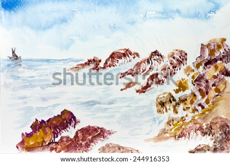 watercolor painting seascape Waves hit the rocks seaside - stock photo