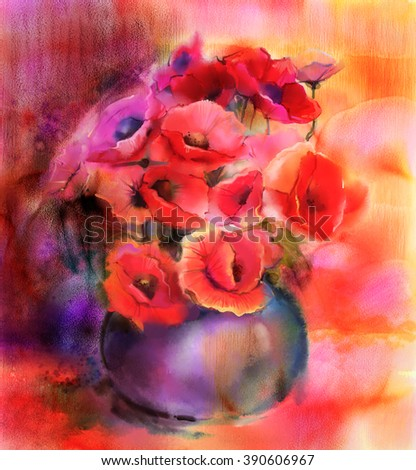 Watercolor painting Still life of red and pink color flower. Colorful Bouquet of poppy flowers in vase - stock photo