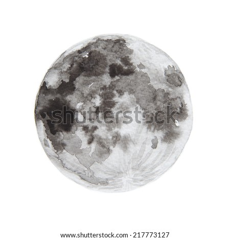 Watercolor paintings of moon. - stock photo