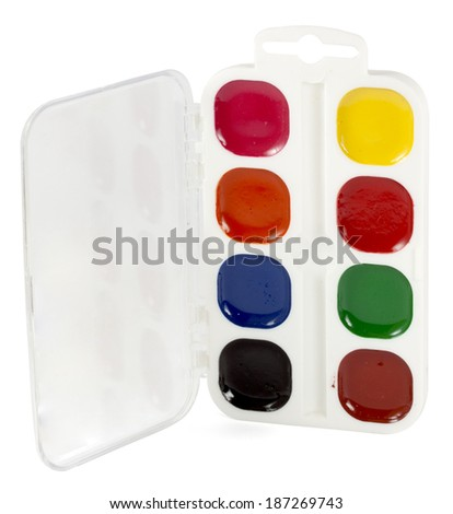 watercolor paints isolated on a white background - stock photo