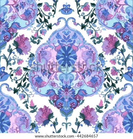 Watercolor paisley seamless background. - stock photo
