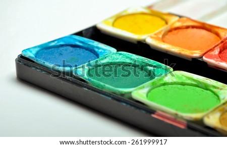 Watercolor palette - stock photo