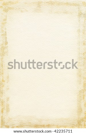 Watercolor paper texture with grunge frame - stock photo