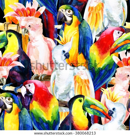 watercolor parrots seamless pattern. Hand painted illustration with different species of parrots - stock photo