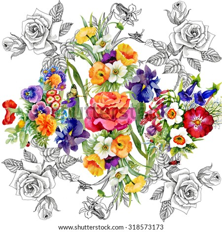 Watercolor pattern on white background with roses, violets and other flowers. Background for web pages, wedding invitations, save the date cards - stock photo