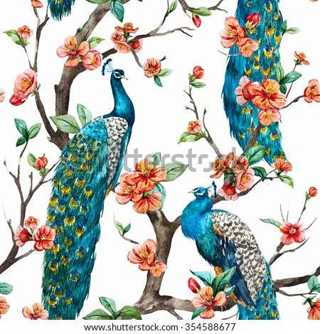 watercolor pattern peacock on a tree cherry, flowering trees - stock photo