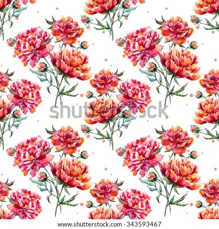 watercolor pattern with flowers, red peony, sweet vintage polka dot pattern - stock photo