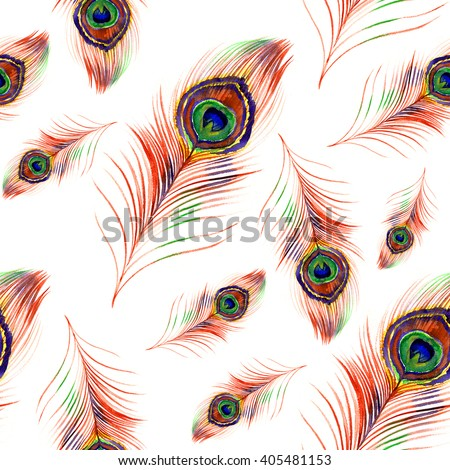 Watercolor peacock feather pattern  - stock photo
