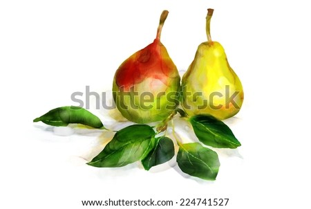 Watercolor pears. Still life. Digital painting, imitation of watercolor.  - stock photo