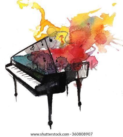 watercolor piano music  - stock photo