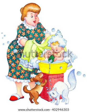 Watercolor picture in funny retro style isolated on white. Cute domestic life in home bathroom. Smile mom wash with soap small joyful offspring in plastic bowl. Pets play with water foam and toy - stock photo